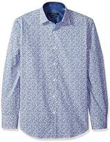 Bugatchi Men's Graphic Printed Tapered Point Collar Sport Shirt