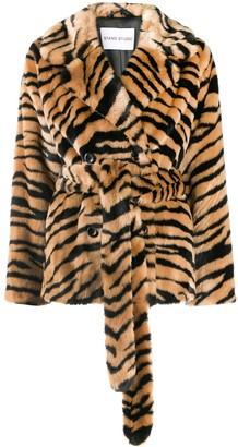 Stand Studio Tiger Print Faux-Fur Coat