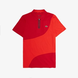 Lacoste Men's SPORT Color-Blocked Breathable Pique Zip Golf Polo Shirt