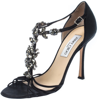 Jimmy Choo Black Leather Crystal Embellished T Strap Sandals Size 37.5