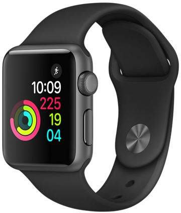 Apple Watch Series 1, 38mm Aluminum Case with Black Sport Band