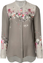Elie Tahari collarless floral print shirt
