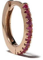 White Bird 18kt rose gold ruby Margot medium single hoop earring