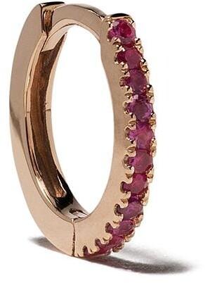 White Bird 18kt rose gold ruby Margot medium single hoop earring
