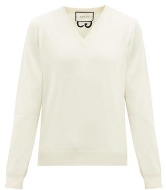 Gucci GG-embroidered V-neck Cashmere Sweater - Mens - White