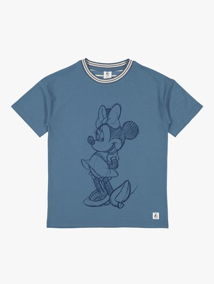 Polarn O. Pyret Children's Organic Cotton Minnie Mouse Oversized T-Shirt, Blue