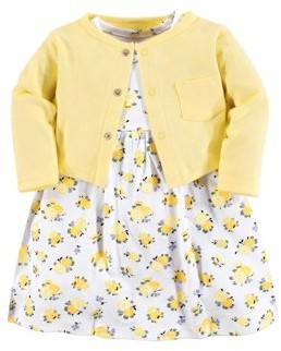 Luvable Friends Toddler Girl Dress & Cardigan, 2 pc Outfit Set