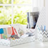 Printed Desk Accessories, Set of 3: Magazine Caddy, Divided Tray and Cup, Metallic Silver Foil Chevron