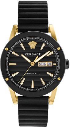 Versace Men's 42mm Automatic Textured-Stripe Leather Watch