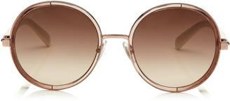 Jimmy Choo ANDIE White Acetate Round Framed Sunglasses with Gold Lurex Detailing