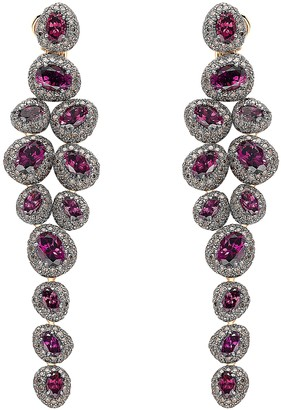 Brumani Women's 18ct Rose Gold Red Garnet and Brown Diamonds Corcovado Earrings