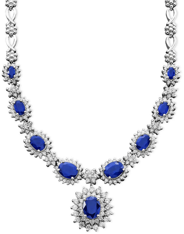 Effy Royalty Inspired by Sapphire (4-3/8 ct. t.w.) and Diamond (1-2/3 ct. t.w.) Necklace in 14k White Gold, Created for Macy's