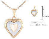 Ice 15-in 14K Yellow Gold Mother of Pearl Heart Children's Locket Necklace