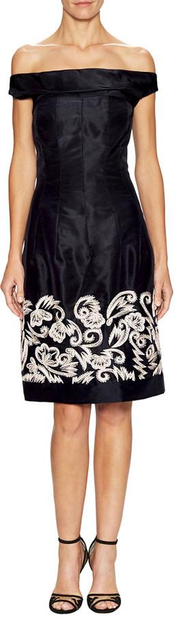 Oscar de la Renta Silk Embellished Off-The-Shoulder Dress