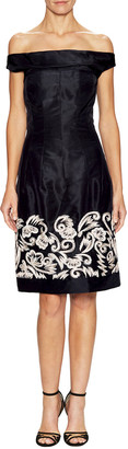 Oscar de la Renta Silk Embellished Off-The-Shoulder Dress