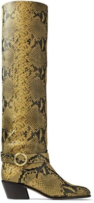 Jimmy Choo Beca 45mm snake-print boots
