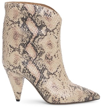 Isabel Marant Leinee Snakeskin-Embossed Leather Ankle Boots