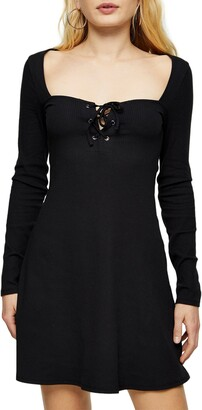 Topshop Lace-Up Long Sleeve Jersey Minidress