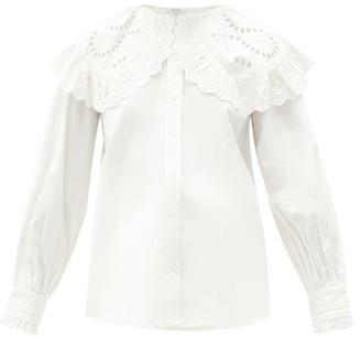 Sea Marina Peter Pan Collar Cotton-poplin Shirt - White