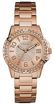 GUESS Pave Analog & Date Stainless Steel Bracelet Watch