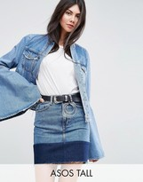 Asos Tall Denim Jacket With Rips And Fluted Sleeve