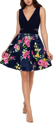 Xscape Evenings Floral Print Fit & Flare Cocktail Dress