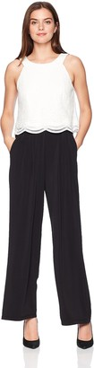 Sangria Women's Popover Jumpsuit with Lace Bodice