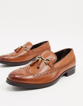 ASOS DESIGN brogue loafers in tan leather with gold snaffle and tassel