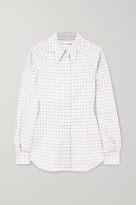 Victoria Beckham Checked Cotton Shirt - White