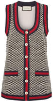 Gucci Grosgrain-trimmed Cotton-blend Tweed Vest - Ivory