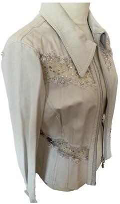 No Name White Leather Jacket for Women