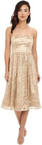 Jessica Simpson Strapless Embellished Floral Mesh