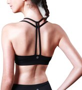 Queenie Ke Women's Light Support Cross T Back Wirefree Yoga Energy Sports Bra Size S Color