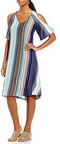 Gibson & Latimer Cold-Shoulder V-Neck Striped Knit Dress
