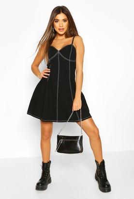 boohoo Contrast Stitch Denim Skater Dress