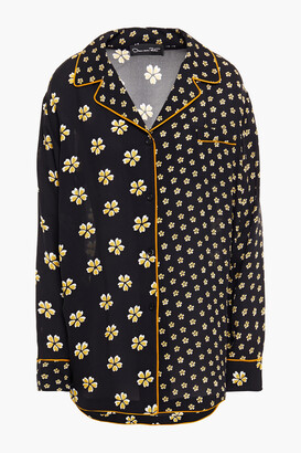 Oscar de la Renta Paneled Floral-print Silk Shirt