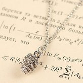 BST Pendant Necklaces BST Fashion Fruit Blue Bead Alphabet Silver Alloy Pendant Necklace(1 Pc)