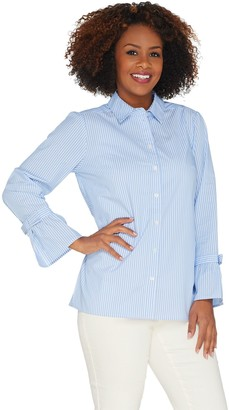 Belle By Kim Gravel Striped Button Front Shirt w/ Bow Sleeves
