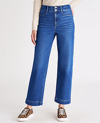 Ann Taylor Sculpting Pocket High Rise Straight Jeans in Bright Authentic Indigo Wash