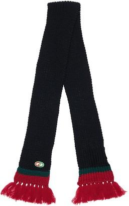Gucci Knit Wool Scarf W/ Web Detail