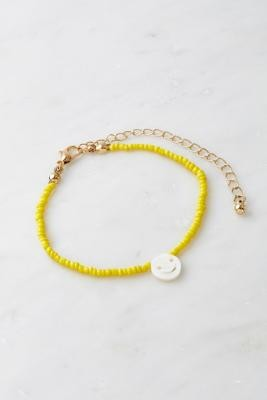Urban Outfitters Face Charm Beaded Bracelet - Yellow ALL at