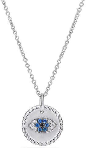 David Yurman 18k Cable Collectibles Evil Eye Necklace, White Gold
