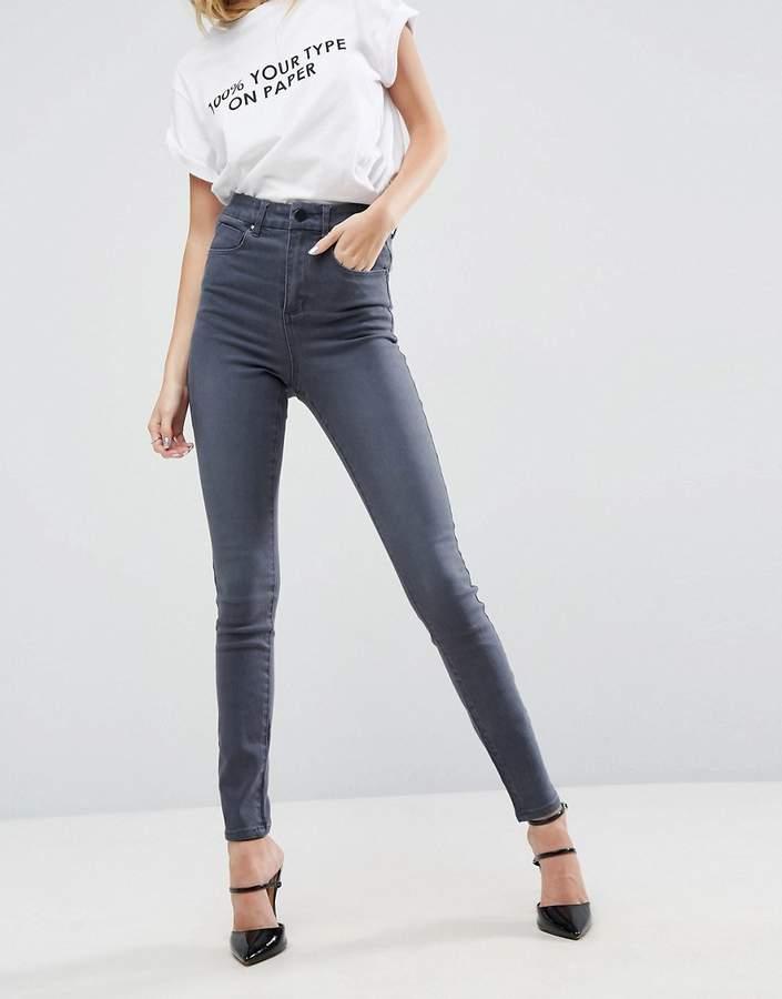 Asos Design 'sculpt Me' High Waisted Premium Jeans In Jodie Grey Wash