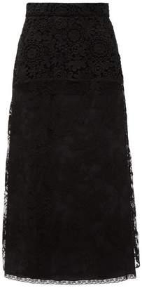Prada Floral Lace And Silk Midi Skirt - Womens - Black