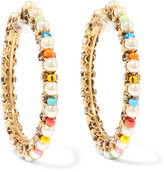 Erickson Beamon Safari Gold-plated, Swarovski Crystal And Bead Earrings - one size
