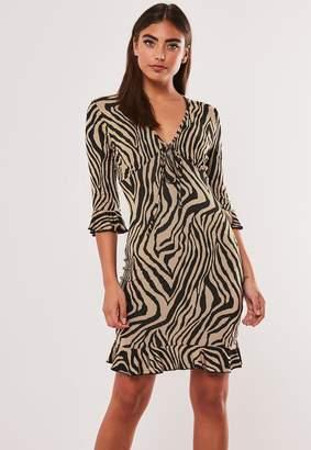 Missguided Camel Zebra Print Frill Jersey Tea Dress