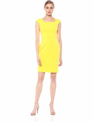 Calvin Klein Women's Cap Sleeve Sheath with Square Neckline Dress