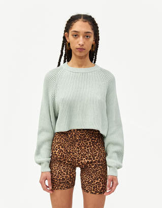 Which We Want Women's Margot Cropped Sweater in Mint, Size Small/Medium