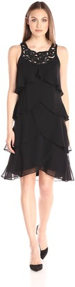SL Fashions Women's Jewel Trimmed Neckline Dress with Multiple Layered Tiers