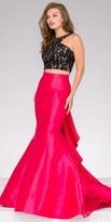 Jovani Ruffled Back Two Piece Beaded Prom Dress